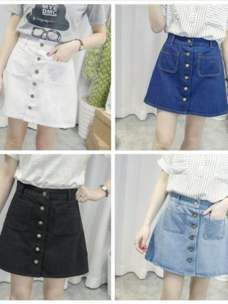 New Simple Summer Comfortable High Waist Cowboy denim button Skirt