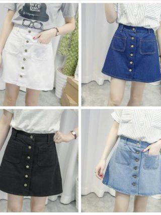 New Simple Summer Comfortable High Waist Cowboy denim button Skirt