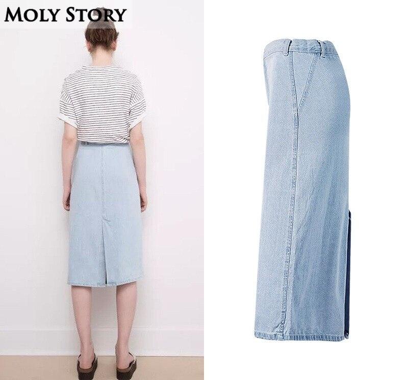 Light Blue Washed Denim Skirt Cute Casual Front/Back Split High Waist Midi Skirts A Line Jean Skirt Jupe Femme 2