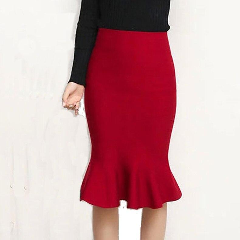 Women Knit Skirt High Waist elastic Ruffles Mermaid Skirts Female Slim Sexy Knitting Saia Autumn Winter Black Red Knitted Skirt 2
