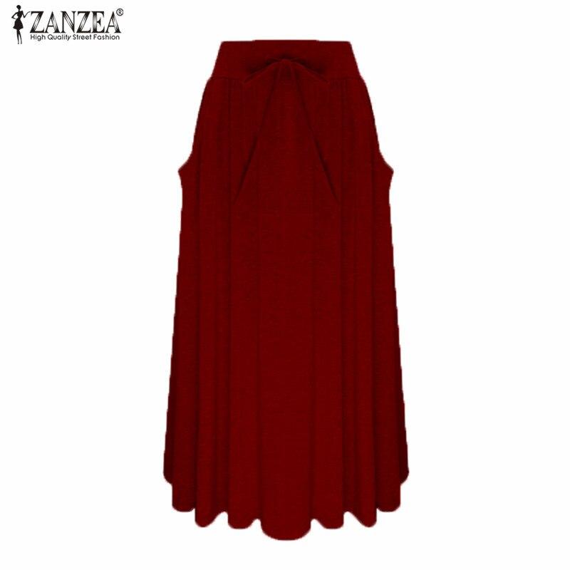 ZANZEA Women Long Skirt 19 Elegants Elastic High Waist Pockets Pleated Skirts Casual Solid Loose Mid-calf Skirts Plus Size 2XL 3