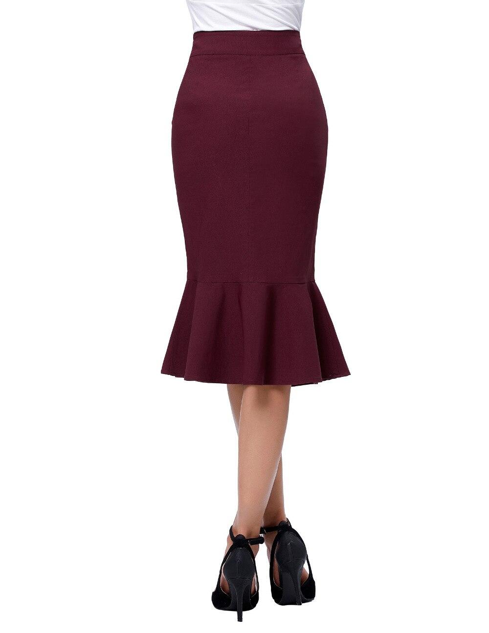 17 Skirts Faldas Women's Fashion OL Casual Mermaid Dark Wine Black Pencil Skirt Jupe Longue High Waist Sexy Long Skirt 3