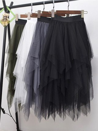 Long Tulle Skirt Women Fashion High Waist Irregular Hem Mesh Tutu Skirt 17 Summer Beach Skirt Ball Gown Ladies