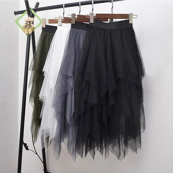 Long Tulle Skirt Women Fashion High Waist Irregular Hem Mesh Tutu Skirt 17 Summer Beach Skirt Ball Gown Ladies