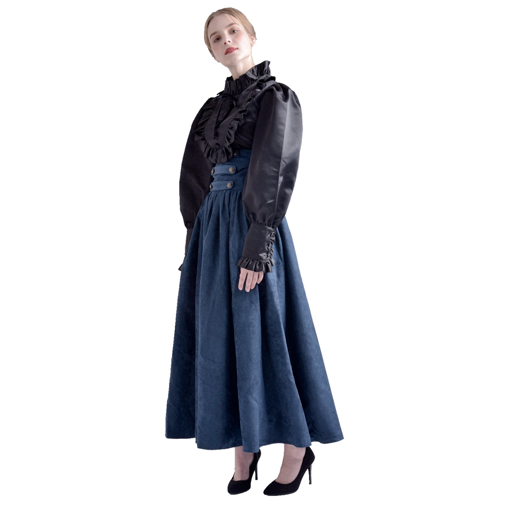 Gothic Steampunk Skirts Women Vintage Victorian Renaissance Cosplay High Waist Double-breasted Long Walking Skirt 2