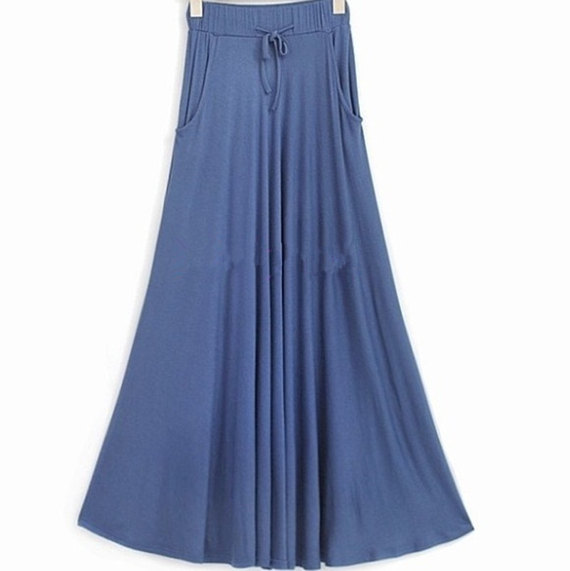 Free Shipping 19 New Plus Size XS-10XL Long Maxi Skirt With Big Hem Cotton Stretch Waisted Black Skirt High Quality Customized 1