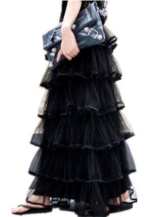 Free Shipping New Arrival Of Spring 18 Long Tulle Layered Skirts Ruffles Maxi Skirts For Women Black And White Waisted Skirts