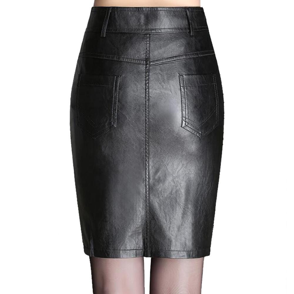 Autumn Winter Zipper Women's Leather Skirts Slim High Waist Sexy Leather Skirt Plus Size Black Women Sexy Pencil Skirt 4XL 5XL 2