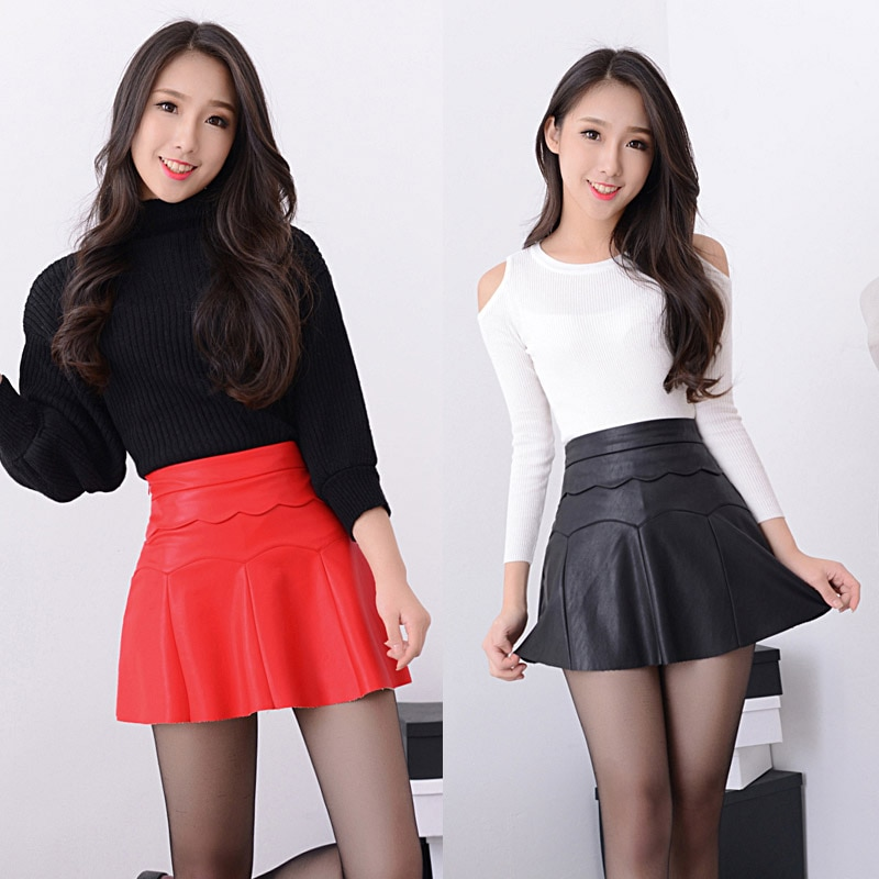 New 19 Russia Fashion Black Red high quality leather Skirt Women Vintage High Waist Pleated Skirt Female Short Skirts 2