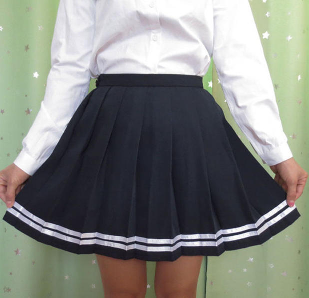 Japanese high school student girl cute kawaii classical pleated skirt Macaron color cosplay high waist school uniform skirt 2