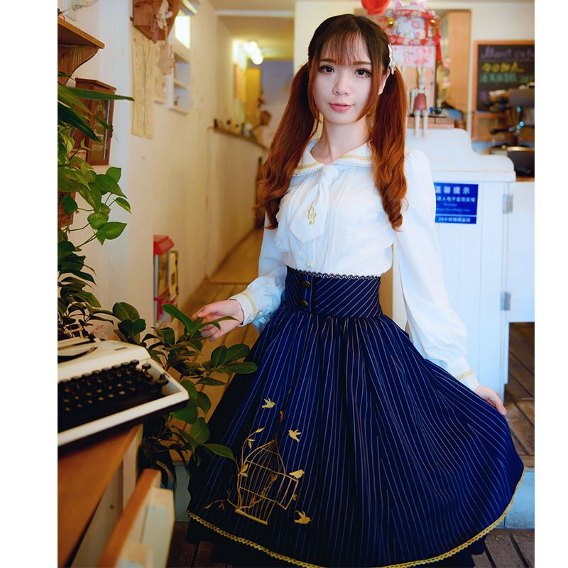 19 Fall Classic Lolita Skirt Vintage Style Striped A Line Skirt with Cage Embroidery 2