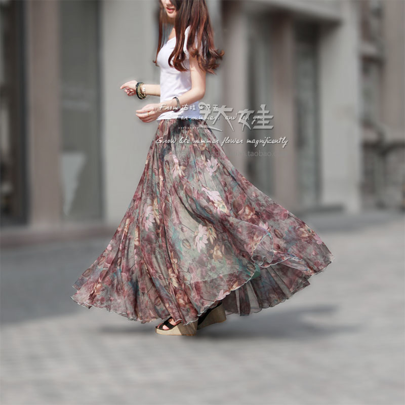 Spring and summer chiffon bust skirt full beach skirts expansion bottom tulle 1