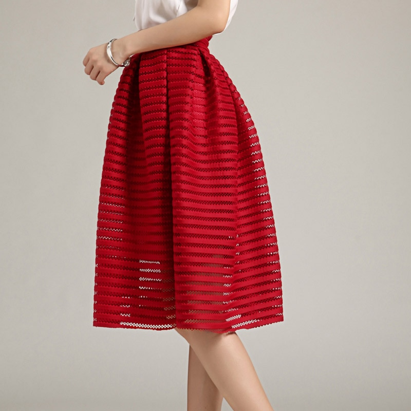 MWSFH Summer New Style Sexy Fashion Skirt women Striped Hollow-out Fluffy Skirt Swing Skirts Ladies Black Red Ball Gown Long 2