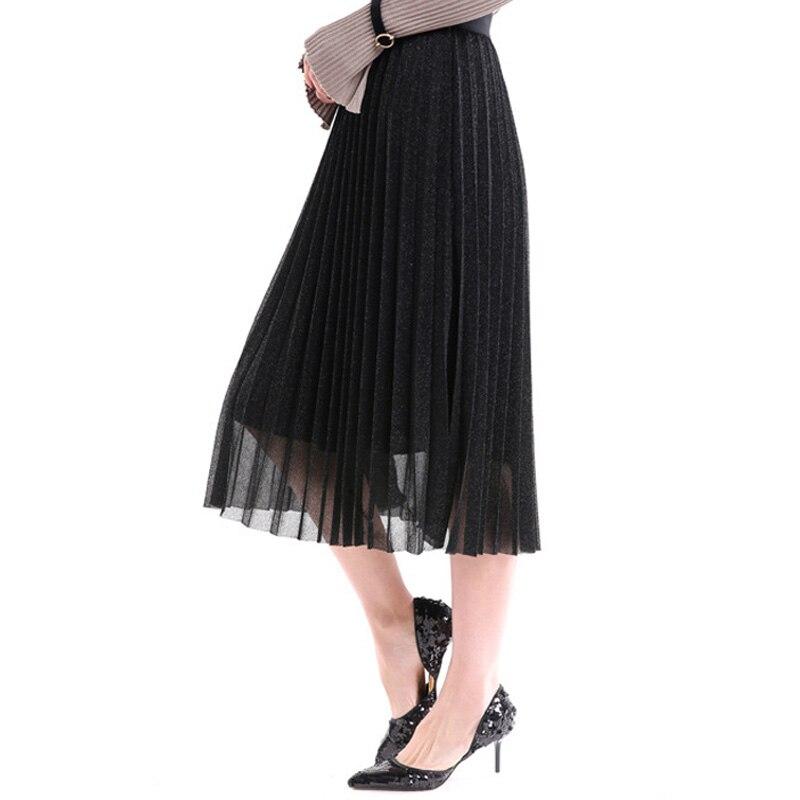 IUSGG  Metal Color Silk Skirt Retro Fashion Metal Bright Silk Skirt Women Pleated Midi Skirt Big Swing Pleated Skirt 2
