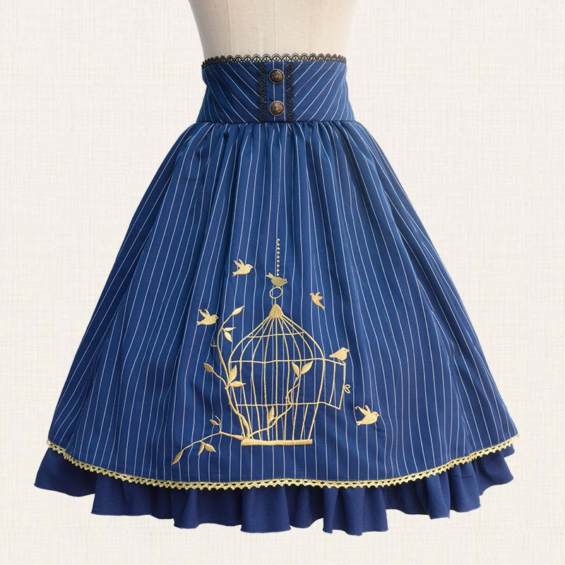 19 Fall Classic Lolita Skirt Vintage Style Striped A Line Skirt with Cage Embroidery 1