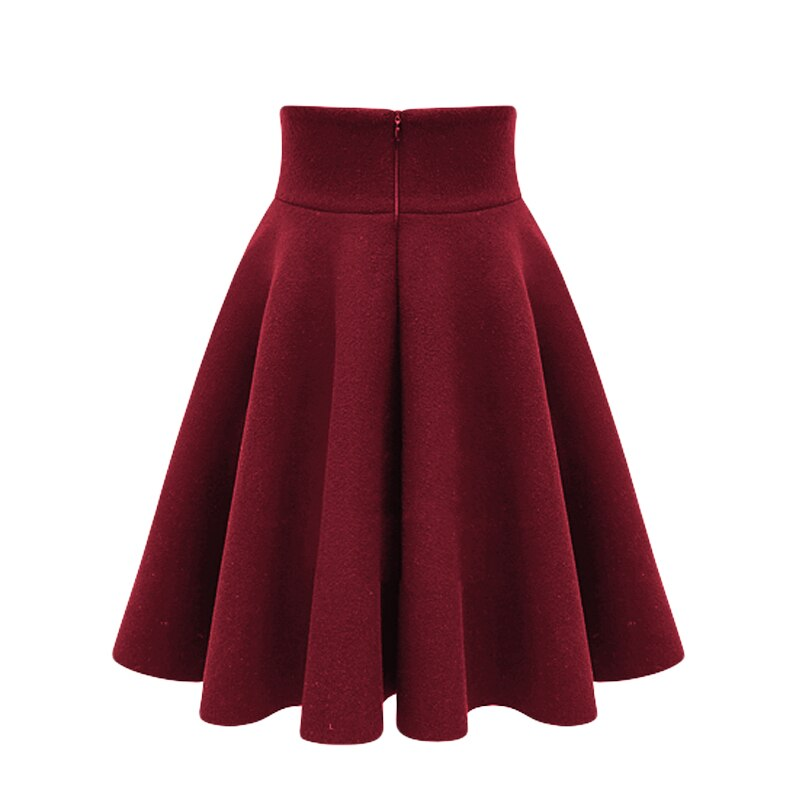 18 sexy retro women pleated skirt autumn and winter fashion high waist large size warm solid color skirt female 1