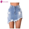 Pink Queen Women's Denim Skirt Summer Elegant Split Saia Torn Jeans Slim Mini Skirt Ripped Hole Saia Longa Denim Skirts Fashion