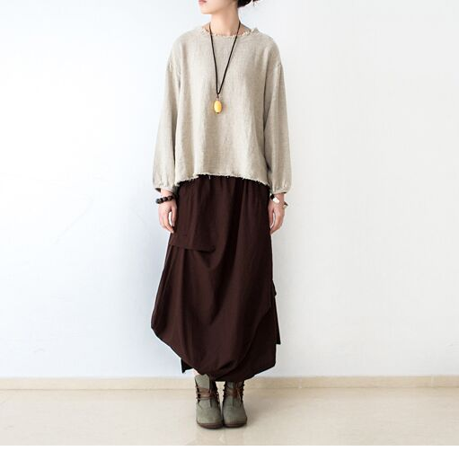 18 Women Skirts Saias Femininas Plus Size Linen Skirts Pleated Pockets Casual Maxi Long Skirts Women Irregular Loose Buttom 1