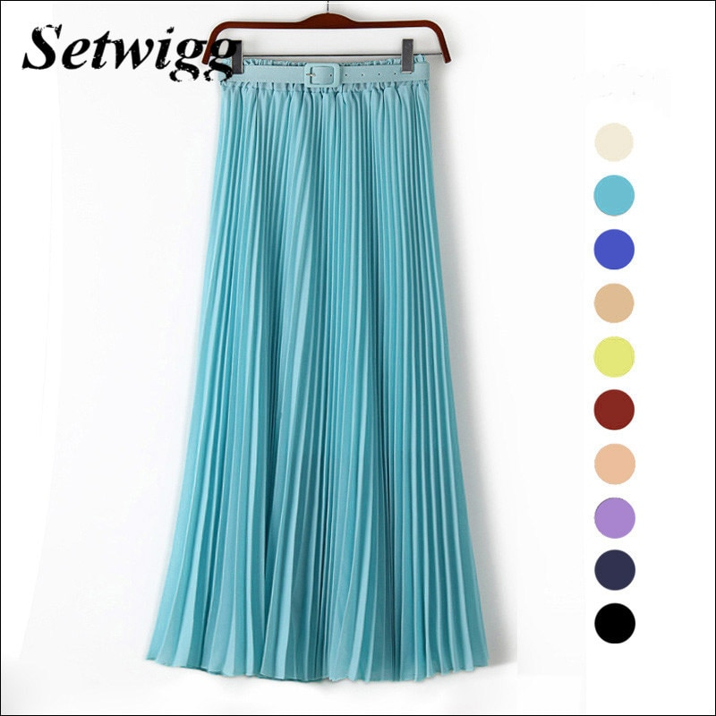 SETWIGG 90cm Long Chiffon Accordion Pleated Skirts Elastic Waist Belt Casual Candy Maxi Long Bohemian Summer Skirts SG03 1