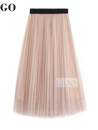 KIGO Spring Fashion Faldas Vintage Big Swing Skirt Women High Waist Tulle Skirt Elegant Pleated Skirt Jupe Femme KC1664H