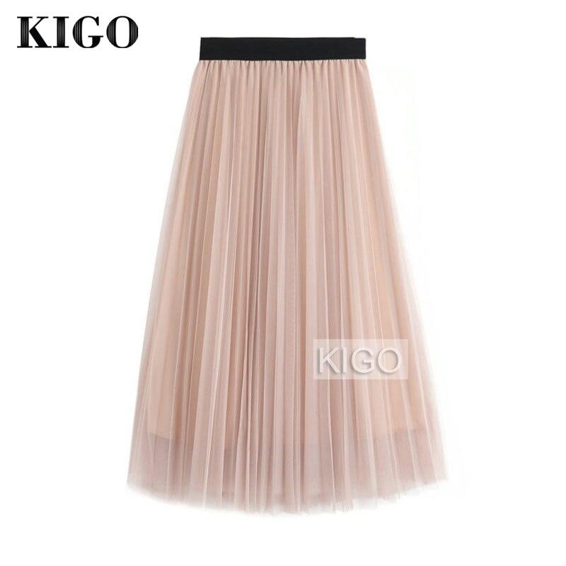 KIGO Spring Fashion Faldas Vintage Big Swing Skirt Women High Waist Tulle Skirt Elegant Pleated Skirt Jupe Femme KC1664H