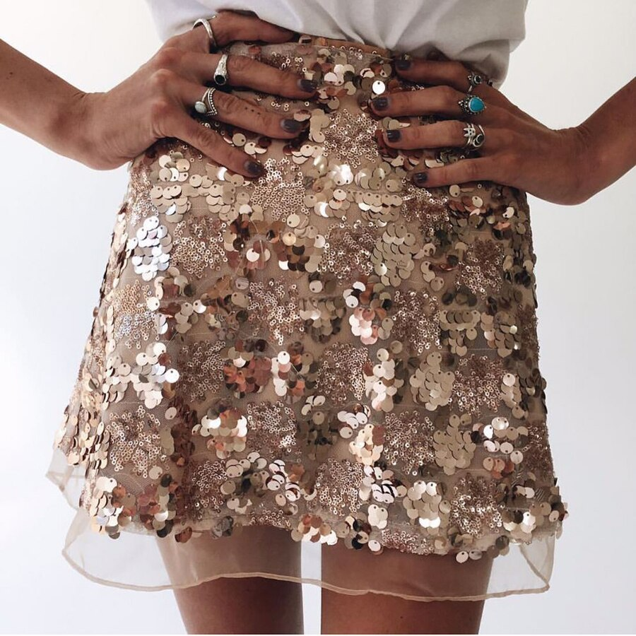 Women Skirt Sexy High Waist Party Glitter Mini Skirt Bodycon gold silver Sequin Skirt Sexy zipper Short Skirts for Women Ladies 2