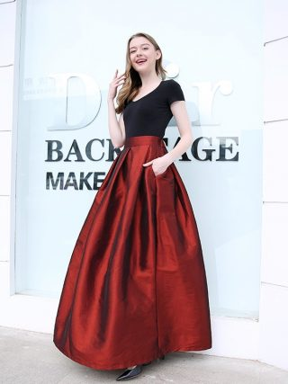Fashion Long Skirts Women Faldas High Waist Pleated Womans Floor Length Skirt Plus Size Elastic Elegant Ladies Jupe Skirts