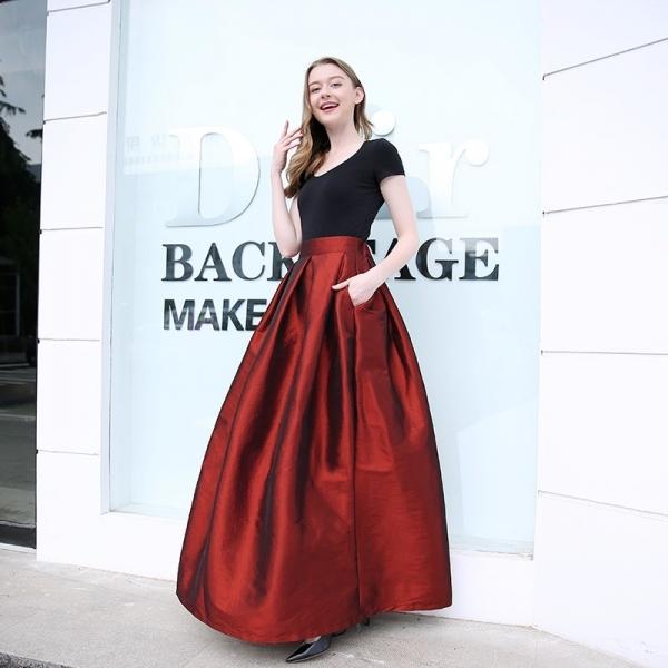 Fashion Long Skirts Women Faldas High Waist Pleated Womans Floor Length Skirt Plus Size Elastic Elegant Ladies Jupe Skirts