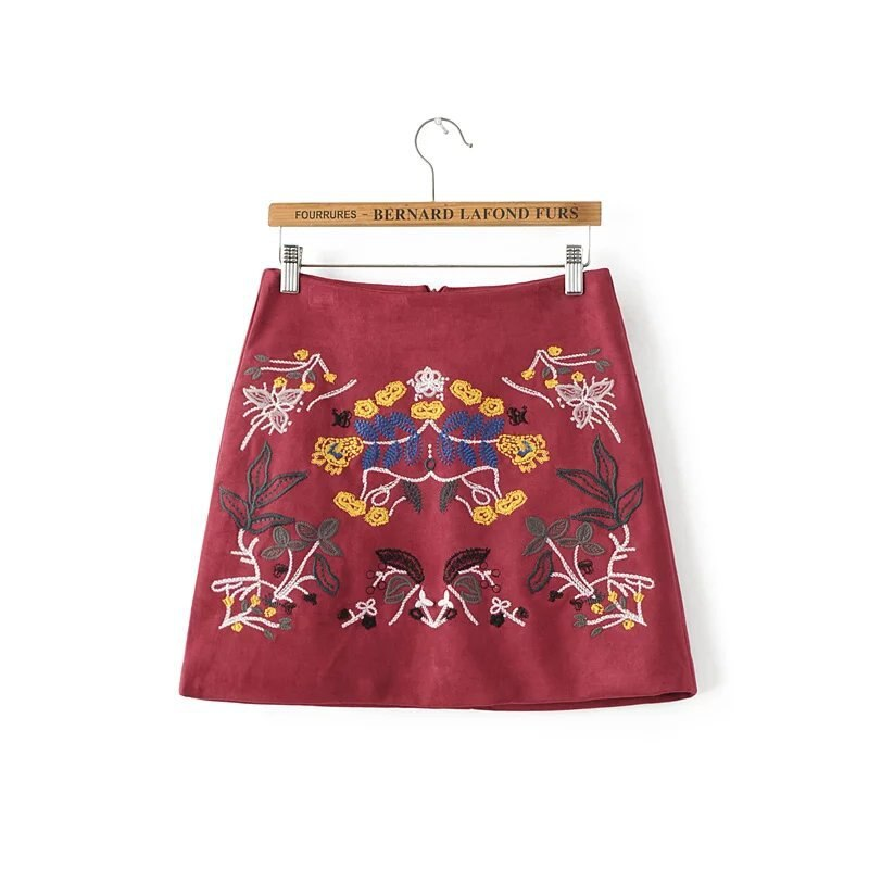 Buenos Ninos vintage burgundy floral embroidery a-line skirt elegant suede all-match autumn winter mini skirts 50 1