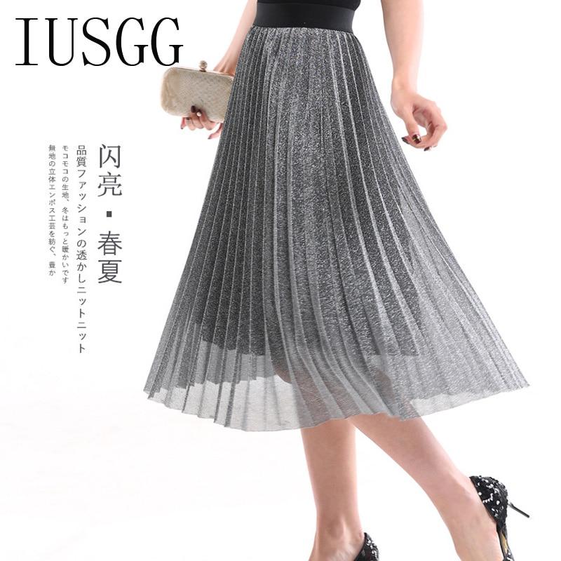 IUSGG  Metal Color Silk Skirt Retro Fashion Metal Bright Silk Skirt Women Pleated Midi Skirt Big Swing Pleated Skirt 1