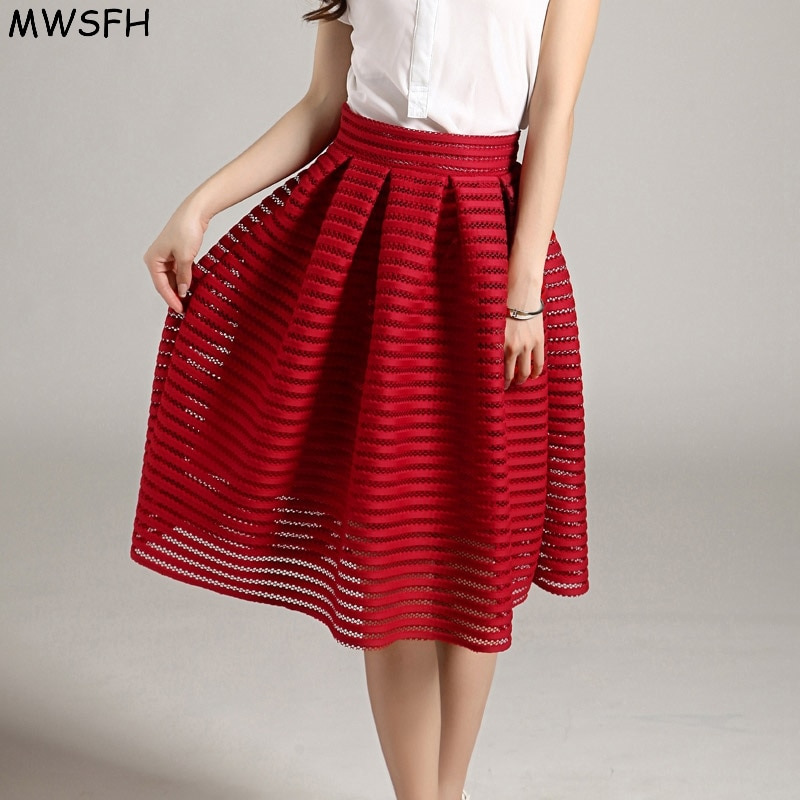 MWSFH Summer New Style Sexy Fashion Skirt women Striped Hollow-out Fluffy Skirt Swing Skirts Ladies Black Red Ball Gown Long 1