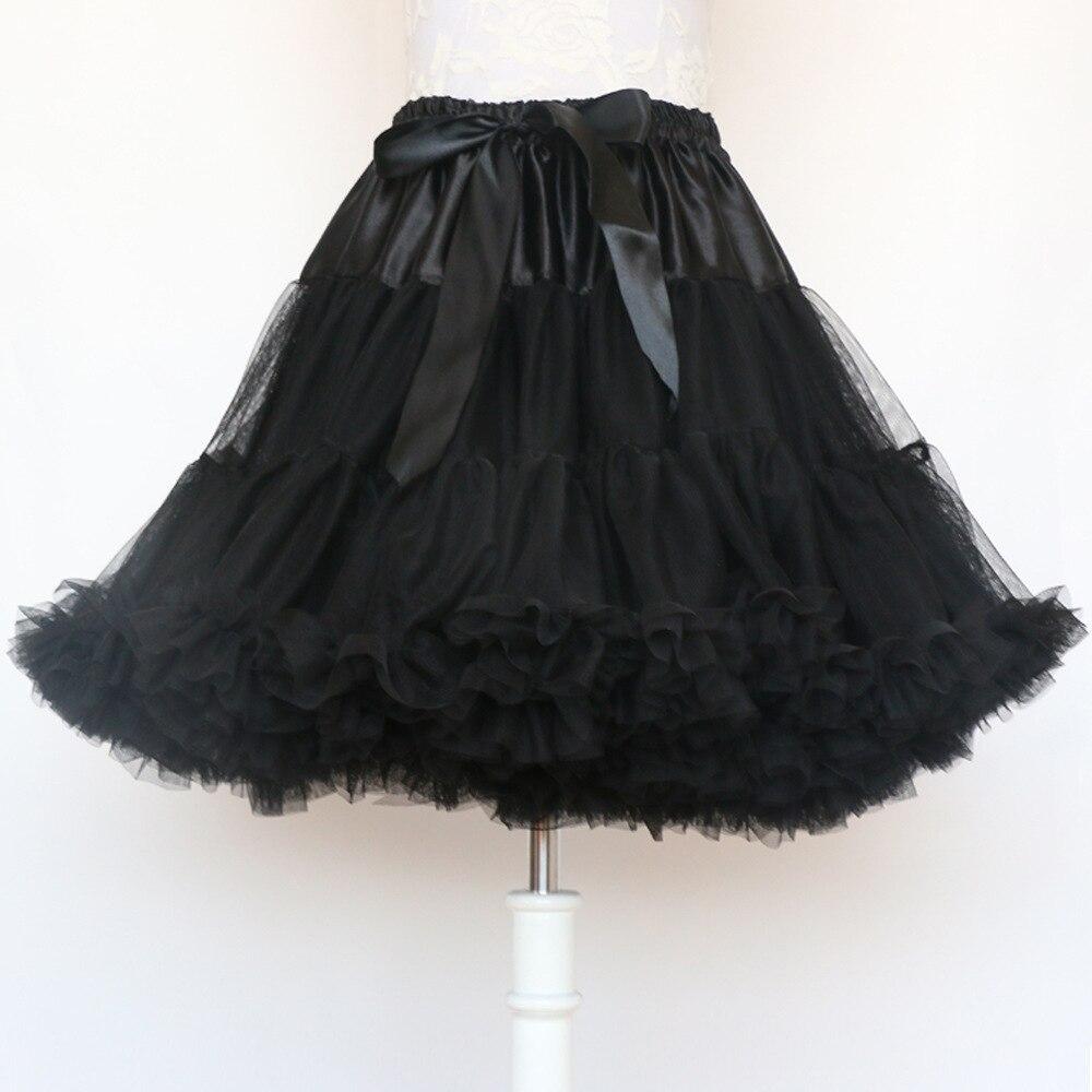 Fashion 5 Layers Midi Tulle Skirt Vintage Tutu Skirts Womens Lolita Petticoat faldas de tull Mujer Saias Jupe 2