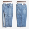 Free Shipping 17 New Denim Jeans Women Skirt High Waist Placketing Sexy Slim Hip Pencil Stretch Skirt Summer Side Slit Skirts