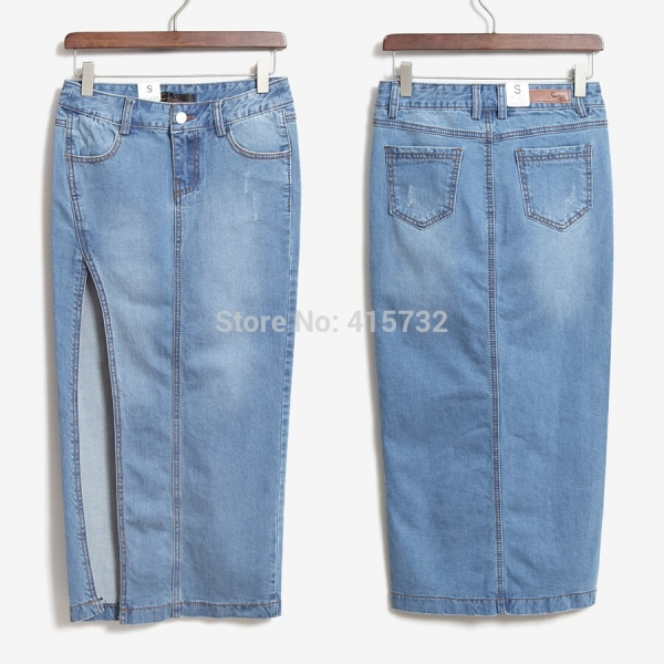 Free Shipping 17 New Denim Jeans Women Skirt High Waist Placketing Sexy Slim Hip Pencil Stretch Skirt Summer Side Slit Skirts