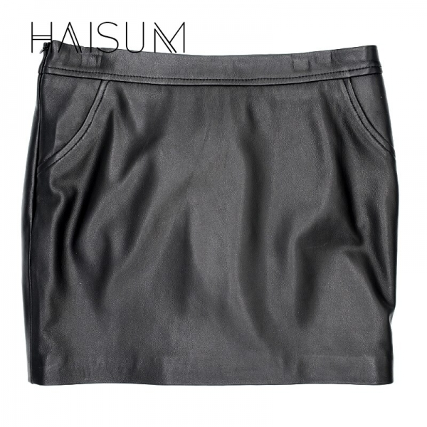 18 Sale Hot Sale None Haisum Women Plus Size Leather Skirt Genuine Knee-length Skirts Solid Sheepskin Lady Straight For Le0