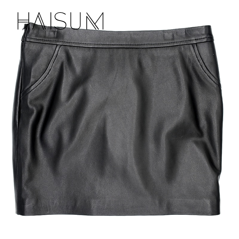 18 Sale Hot Sale None Haisum Women Plus Size Leather Skirt Genuine Knee-length Skirts Solid Sheepskin Lady Straight For Le0 1