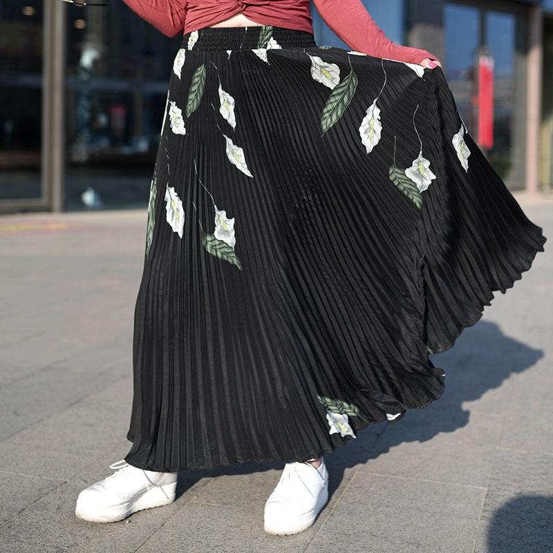17 Women Maxi Long Skirt Elastic Waist Pleated Skirts Beach Boho Vintage Summer Long Pleated Skirts Faldas Saia 2