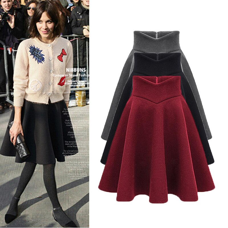 18 sexy retro women pleated skirt autumn and winter fashion high waist large size warm solid color skirt female 2