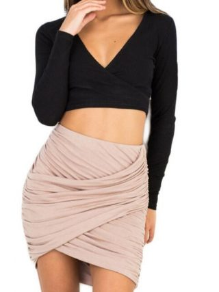 Black, Pink, Gray Fashion Apparel Pencil Skirt Women 8 Colors High Waist Ruched Mini Skirt Faldas Sexy Cross Fold Bodycon Skirts