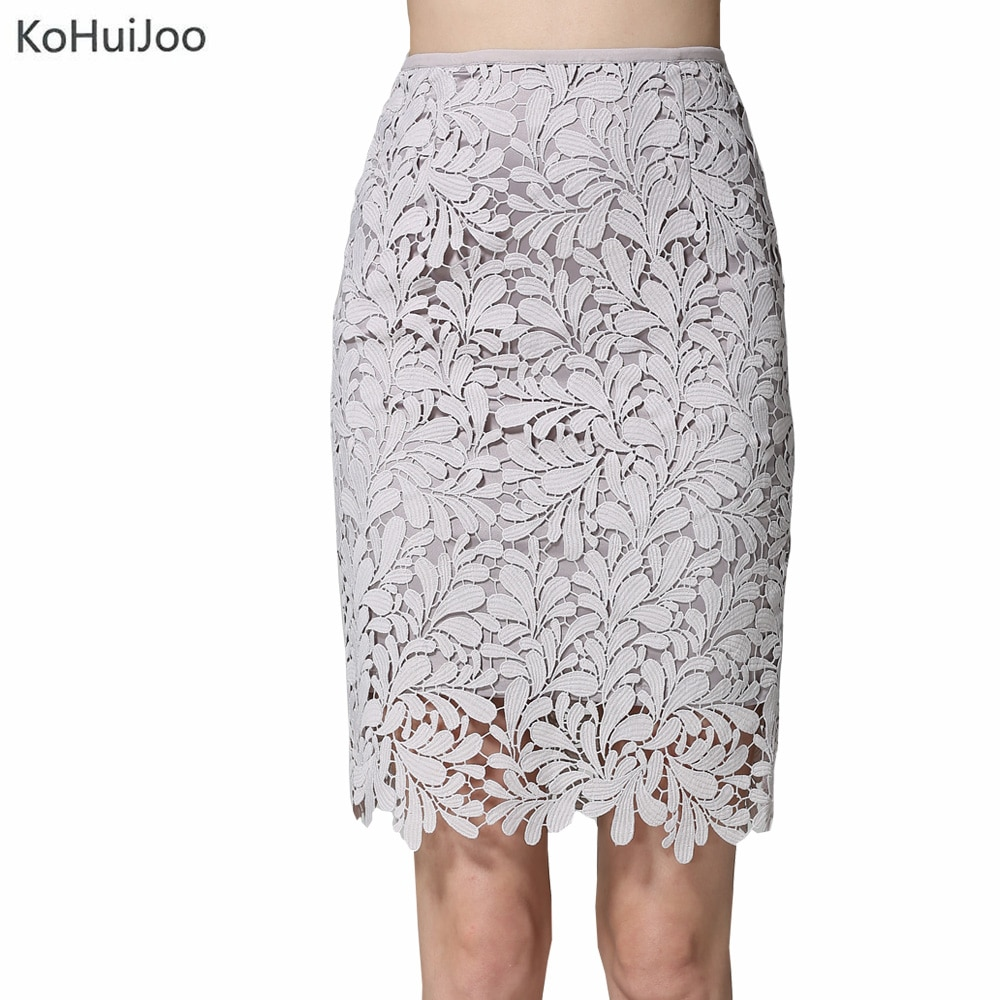 KoHuiJoo Spring Summer Women Pencil Skirts with High Waist Plus Size Cutout Fashion Bodycon Lace Skirt for Women White Gray 4XL 1