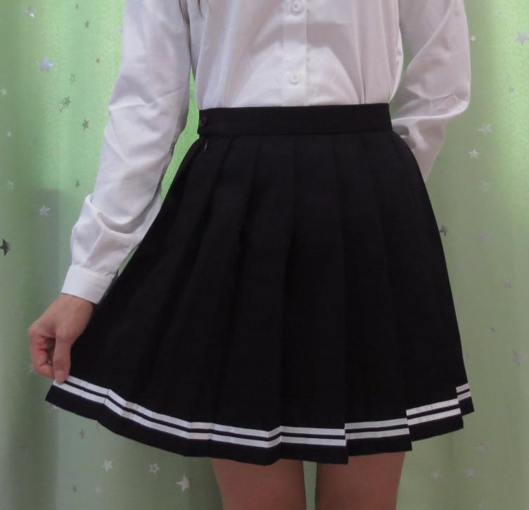 Japanese high school student girl cute kawaii classical pleated skirt Macaron color cosplay high waist school uniform skirt 1