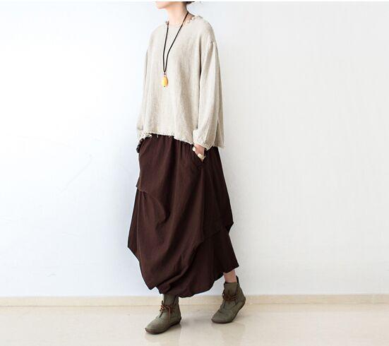 18 Women Skirts Saias Femininas Plus Size Linen Skirts Pleated Pockets Casual Maxi Long Skirts Women Irregular Loose Buttom 2