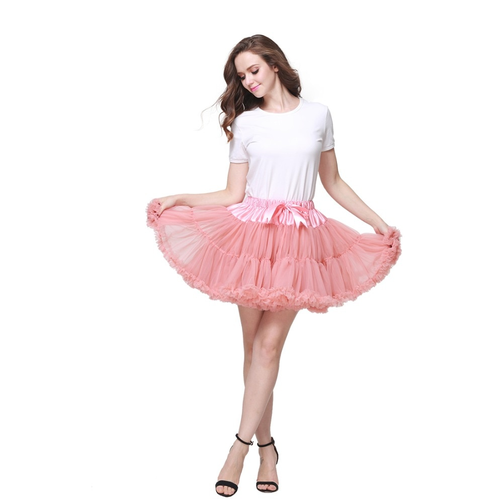 2pc Extra Fluffy Mini Skirt Girl Adult Women Pettiskirt Tutu 2 Layer with Lining Holiday Party Dance Cloth Petticoat Tulle Skirt 1