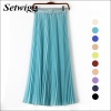 SETWIGG 90cm Long Chiffon Accordion Pleated Skirts Elastic Waist Belt Casual Candy Maxi Long Bohemian Summer Skirts SG03