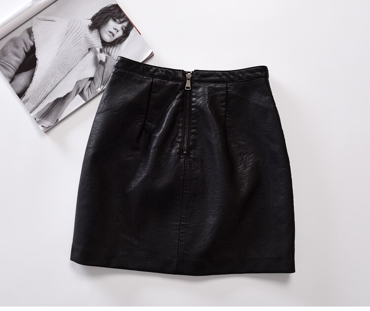 Retro A-Line Faux Leather Skirt New Women Contrast Color Flower Mini Short PU Leather Sexy Floral Embroidery Skirts Black 2