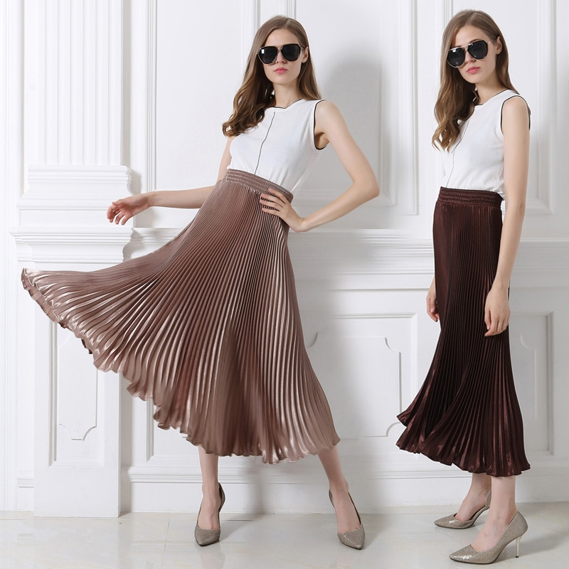 High-quality plus size European /American fashion women chiffon Fold long skirt high waist solid a-line lolita skirts womens 1