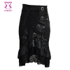 Burlesque Black Ruffle and Lace Victorian Mid Skirt with Front Buckle Detail Gothic Skirts Women Steampunk Corset Matching Skirt