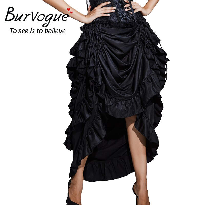 Burvogue Women Satin Fashion Skirt Irregular Long Gothic Skirt Steampunk Lace-up Maxi Ruffled Black Corset Skirts for womens 2