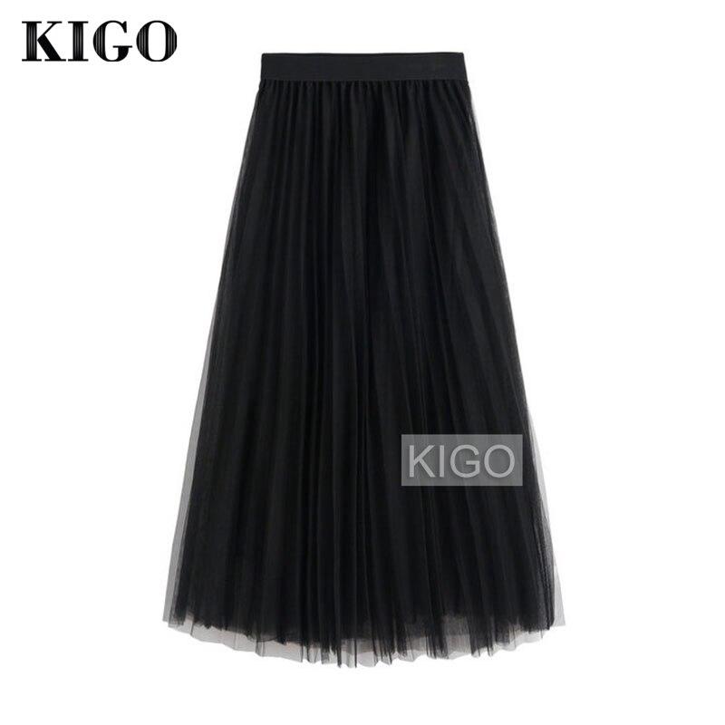 KIGO Spring Fashion Faldas Vintage Big Swing Skirt Women High Waist Tulle Skirt Elegant Pleated Skirt Jupe Femme KC1664H 2