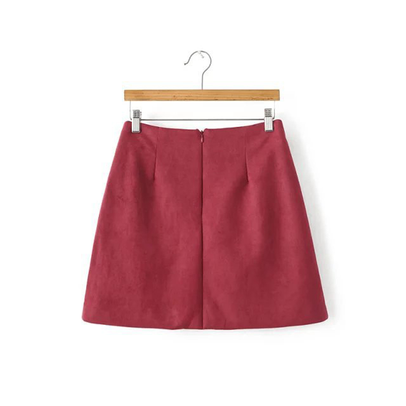 Buenos Ninos vintage burgundy floral embroidery a-line skirt elegant suede all-match autumn winter mini skirts 50 2